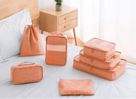 DreamTravel Packing cubes organiser set van 7 oranjeroze