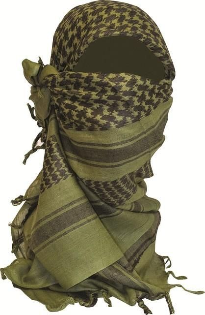 Highlander Shemagh Sjaal 110 x 115 cm olive/wit/rood