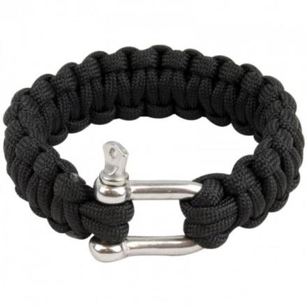 Highlander Paracord armband met D-ring Zwart